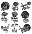 set of summer emblems with palm trees design vector image vector image