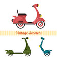set of vintage scooters in retro style vector image