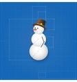 Snowman symbol drawn as blueprint vector image vector image