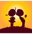 Sunset silhouettes of kissing boy and girl vector image vector image