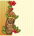tiki mask with leaves and fire funny cartoon vector image vector image