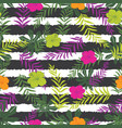 tropical flowers and fern leaves on stripes vector image vector image