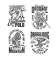 tshirt prints with horse and eagle mascots vector image