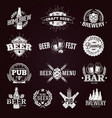 typographic beer labels and logos drawn with chalk vector image vector image