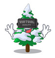 virtual reality realistic fir tree in snow mascot vector image vector image