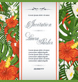 wedding invitation template with tropical flowers vector image vector image