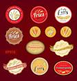 set of fries variety tag label emblem or sticker vector image