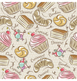 Background with cupcake croissan cake vector image