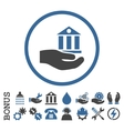 Bank Service Flat Rounded Icon With Bonus vector image