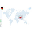 blue world map with magnifying on afghanistan vector image vector image