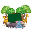 border template with many animals vector image vector image