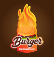 burger fresh and tasty brown background vector image vector image