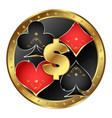 card suits in the gold circle symbol vector image vector image