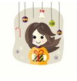 Christmas Girl with Present Box vector image vector image