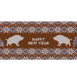 christmas knitted pattern with wild boars vector image
