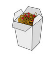 Color image cartoon box with noodles food