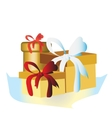 colorful wrapped gift box Lots of presents vector image