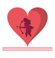 cupid silhouette on heart vector image vector image