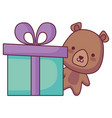 cute and little bear with giftbox vector image