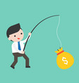 cute businessman holding fishing rod got big vector image