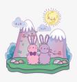 cute rabbits cartoon characters landscape vector image vector image
