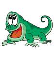 cute scared emerald lizard character cartoon vector image vector image