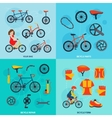 Cycling 4 flat icons square banner vector image vector image