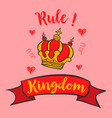 doodle of red crown glamour collection vector image vector image