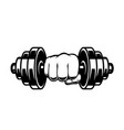 fist with dumbbell design element for poster card vector image
