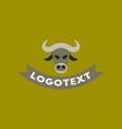 flat icon on background bull logo vector image