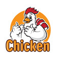funny chicken logo vector image