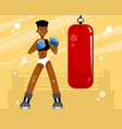 girl training with punching bag vector image