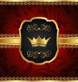 golden vintage frame with crown vector image vector image