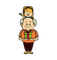 grandfather sits on shoulders girl together fun vector image vector image