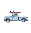 hand drawn pickup car with surfboards on a roof vector image vector image