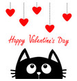 happy valentines day black cat looking up to vector image vector image