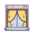 house window clean with curtains design vector image