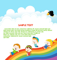 Kids Enjoying Rainbow vector image vector image