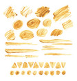 large collection of brush strokes gold acrylic vector image vector image