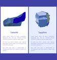 lazurite and sapphire precious gemstones minerals vector image vector image