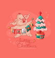 merry christmas cute pig christmas tree vector image vector image