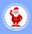 merry christmas poster with santa claus on a blue vector image vector image
