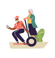 older people lead active lifestyle old woman on vector image