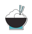 rice bowl with chopsticks icon vector image vector image