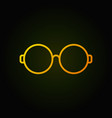 round glasses yellow line icon on dark background vector image vector image