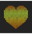 Seamless pattern with golden knitted heart on vector image