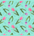 seamless pattern with watercolor tulips vector image vector image