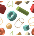 set of 3d geometric shapes bright color seamless vector image