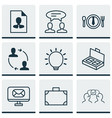 set of 9 business management icons includes cv vector image vector image