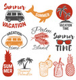 set summertime emblems palm trees sunglasses vector image vector image
